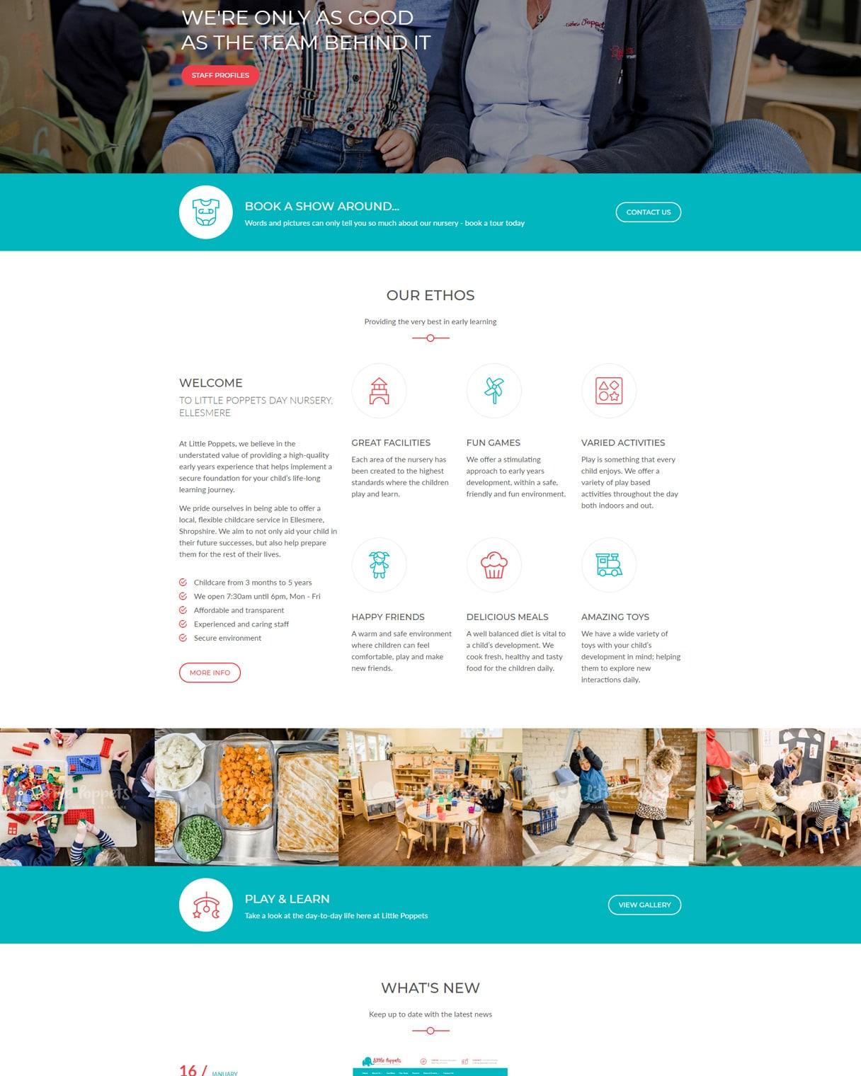 little poppets nursery website homepage