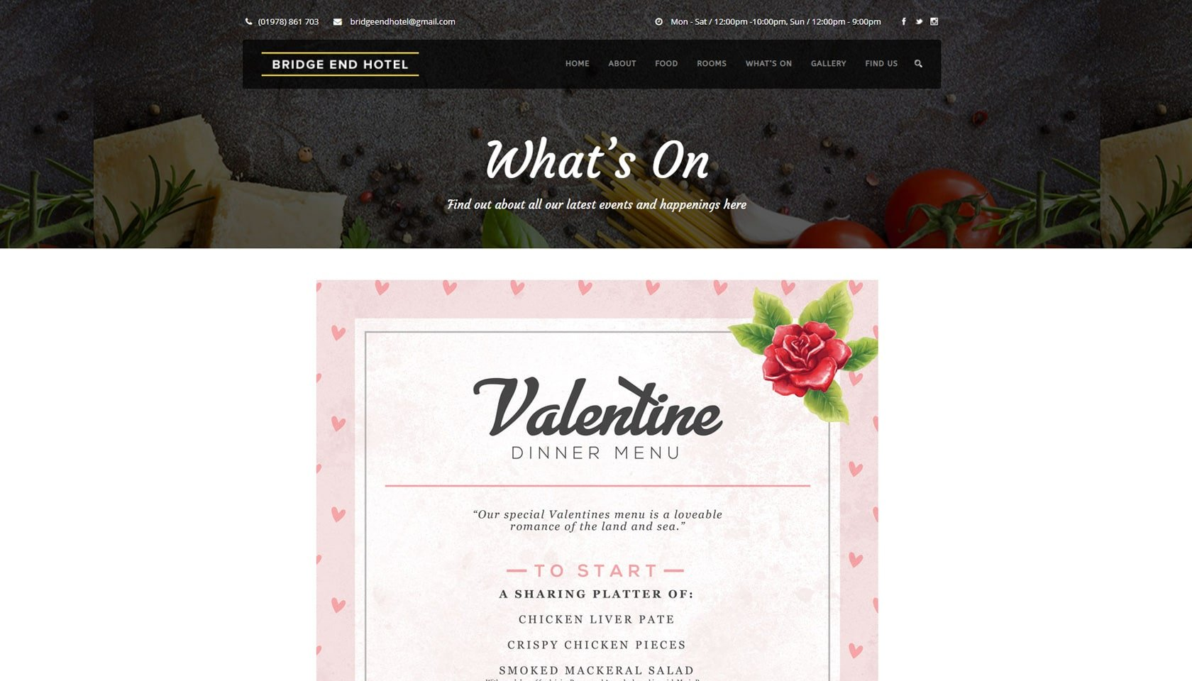 bridge end valentines meal menu