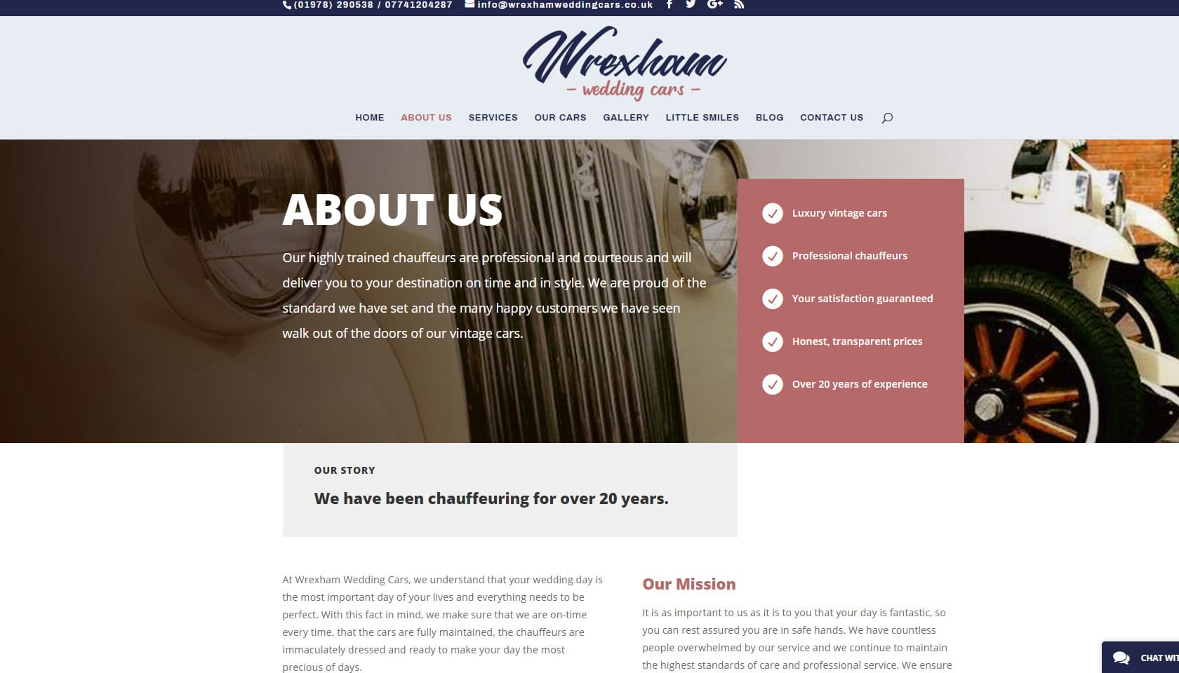 wrexham wedding cars about us page