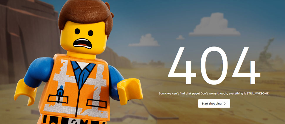 Lego 404 website error page.