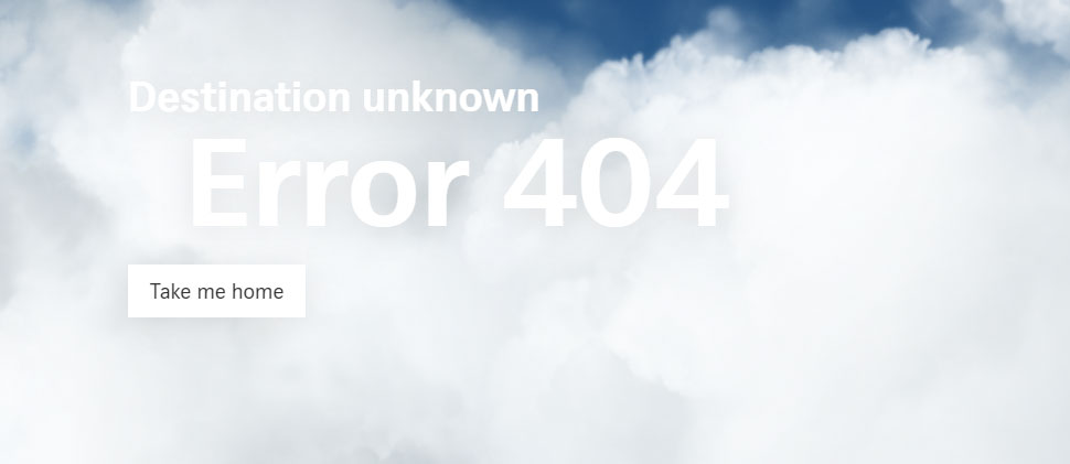 Swiss Airline 404 website error page.