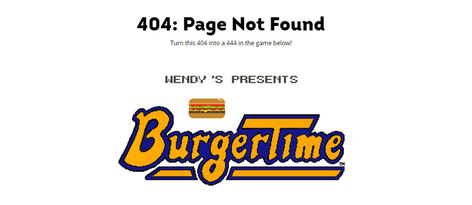 Wendy's 404 website error page.